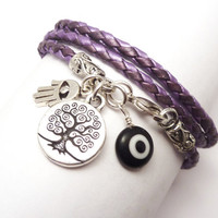 Purple Braided Leather Wrap Bracelet with by charmeddesign1012