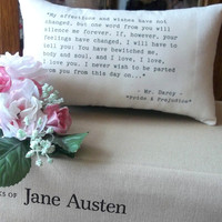 Jane Austen-Pride and Prejudice-'Mr Darcy's Declaration'-Miniature Quotation Pillow-Black Toile