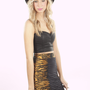 Black Bodycon Mini Skirt with Tiger Print Detial