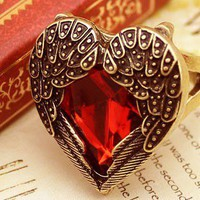 Old Fashion Angel Wings Red Hearts Style Ring