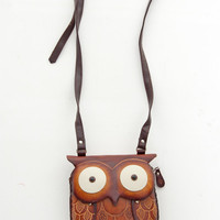 Unique Hand Made Leather Owl Pouch - Unique Vintage - Bridesmaid &amp; Wedding Dresses