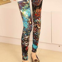 Mottled Galaxy Print Skinny Leggings - 3