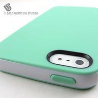 Apple iPhone 5 Mint Green/White Smooth Slim TPU Gel Cover PC Bumper Hybrid Case