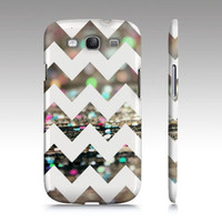 "Samsung Galaxy S3 Case - Glitter on Wood Chevron Pattern  - Fine Art Abstract Photography - ""Afterparty Chevron"""