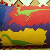Little Boys Dinosaurs Galore Pillow in Red, Blue, Green, and Yellow