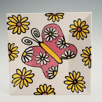 "Butterfly Plate Square Hand Painted 6"" Spring Dinnerware Pink and Yellow"