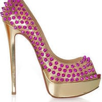 Christian Louboutin lady peep spikes 150 leather pumps - $342.00