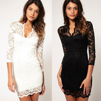 Elegant Women's Cut V-neck Pencil Fit Mini Slim Lace Dress Cocktail Casul Party