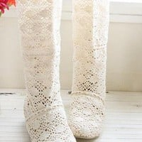 iOffer: 2012 NEW lovely low heel3color lace Long boots 34-43 for sale
