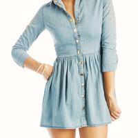 studded-chambray-dress LTBLUE - GoJane.com