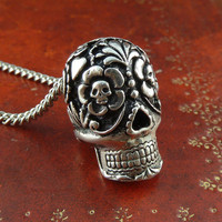Day of the Dead Necklace Antique Silver Day of the Dead Pendant on 24&quot; Antique Silver Chain