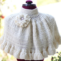 Cape in Ivory Crochet with Rosette and by mademoisellemermaid