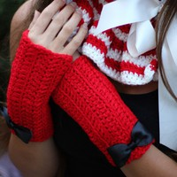 Fingerless Gloves in Cherry Red by by mademoisellemermaid on Etsy