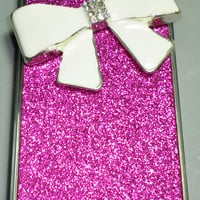 For iPhone 5 - BIG White Crystal Bling Cute Bow on Bright Hot Pink Fuchsia Glitter Sparkle Case Cover Shell