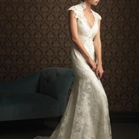 Ivory Charmeuse & Lace with Crystal Accents Cap Sleeve Key Hole Wedding Gown - Unique Vintage - Bridesmaid & Wedding Dresses