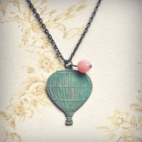 old world hot air balloon necklace by bellehibou on Etsy