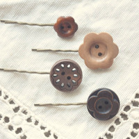 boho wooden flower button hairpin set by bellehibou on Etsy