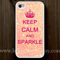 iphone 4 case, iphone 4s case, Keep Calm and sparkle Painting white hard case, pink sparkle