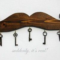 brown mustache key hook by benfloeter on Etsy