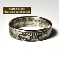 Custom Made / Sizes 5-12 / Louisiana Coin Ring (Please include size in purchase notes)