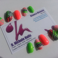 Neon Tribal Print Nail Set - ready to ship