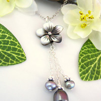 Gray pearl cherry blossom dangle chain necklace