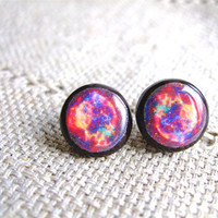 Galaxy Stud Earrings- Cosmic Galaxy earrings studs- Blue- Purple- Red- Black Blue Nebula Earrings- Space jewelry- Universe- Free shipping