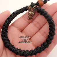 Brass rabbit charm black hemp woven bracelet