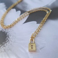 Minimalist padlock necklace in gold or silver  by ConstantBaubling