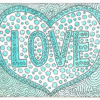 LOVE Print ACEO in Aqua by Theodora