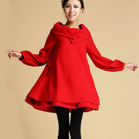 Red Cashmere dress coat (349)