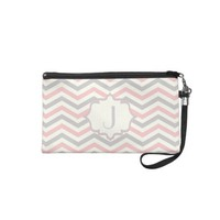 Modern pink, grey, ivory chevron pattern custom wristlet from Zazzle.com
