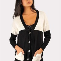 Tred Softly Over Sized Cardigan - Black/White at Necessary Clothing
