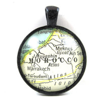 Morocco Pendant from Vintage Map, in Glass Tile Circle