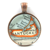 Nantucket, Massachusetts, Pendant from Vintage Map, in Glass Tile Circle