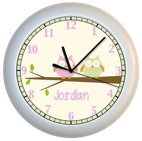 Personalized Owl Nursery Wall Clock Pink and Green by cabgodfrey