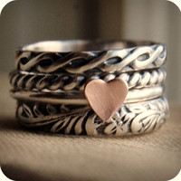 Rustic Romance - Sterling Silver and a Copper Heart - Stacking Ring Set of 4 - Made in Your Size