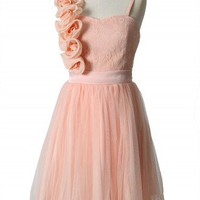 3D Flower Fluted Hemline Tulle Dress in Peach - New Arrivals - Retro, Indie and Unique Fashion