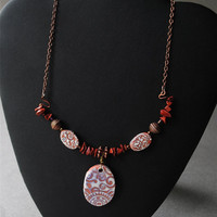 Necklace Red Jasper Copper and Clay Beads