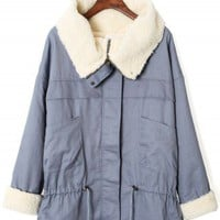 Aviation Faux Fur Oversize Jacket in Blue - New Arrivals - Retro, Indie and Unique Fashion
