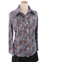 Vintage 70s Blouse Rust Purple Black Paisley Long Sleeve Pointy Collar
