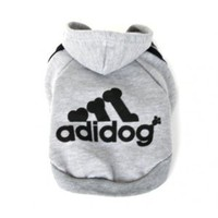 Adidog sweatshirts for active dogs, hoodie sweaters for small dogs 100% fleece