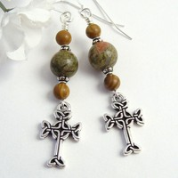 Celtic Cross Unakite Picture Jasper Earrings, Sterling Silver Hooks