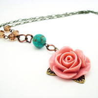 Pink Rose Necklace - Flower Pendant - Floral Prom Wedding Jewelry
