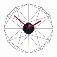 Nuevo Wired Web Wall Clock in Black with Red Handle