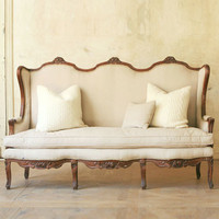 Antique Louis XVI Style Wing Settee in Original Dark Wood c1940 - $1395 - The Bella Cottage