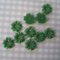 Green Flower Cabochons
