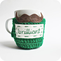 Knotwork — Funny coffee mug Brilliant mustache green brown crochet handmade
