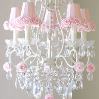 Exquisite Rose 5 Light Chandelier with Pink Rose Shades - $699 - The Bella Cottage