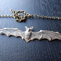 Oxidized Brass Bat Vampire Necklace with chain link toggle clasp